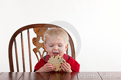 Toddler Boy Looks At Cookie with Open Mouth