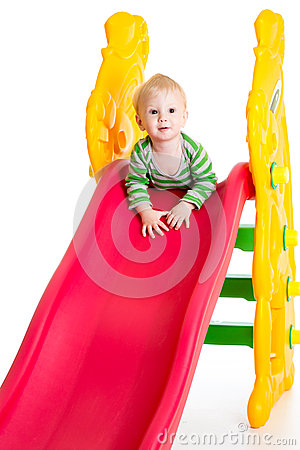 Free Toddler Boy Playing On The Slide Royalty Free Stock Photos - 40728328