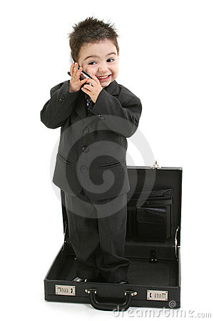 Toddler Boy in Suit Standing in Briefcase