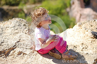 Toddler on a cliff