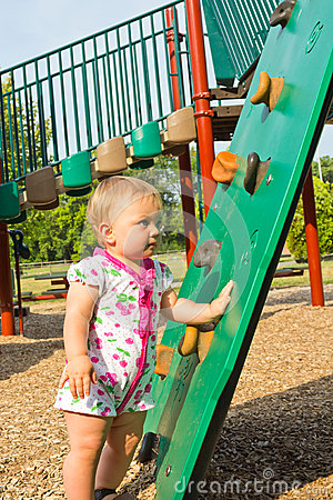 Toddler at Climbing Ramp