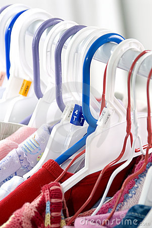 Toddler clothes hanging