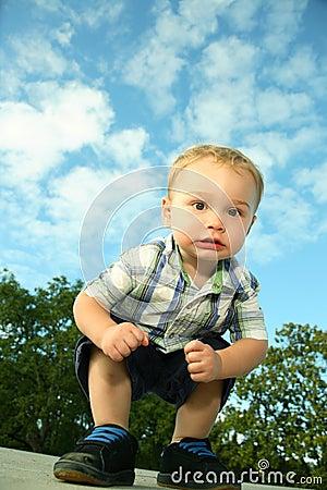 Toddler crouching