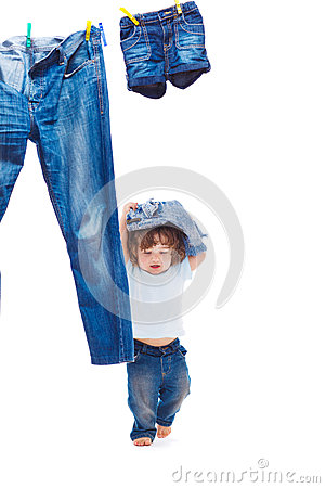 Toddler with denim clothes