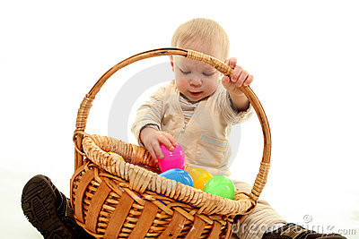 Toddler and easter eggs