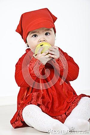 Free Toddler Eating Apple Stock Photos - 14090273