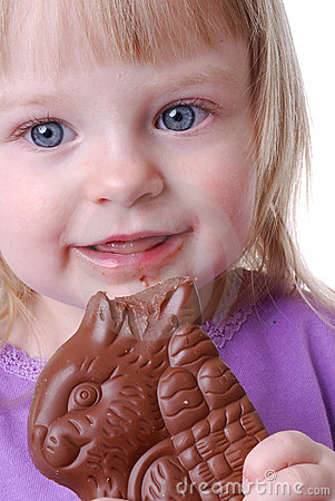 Toddler Eating Chocolate Bunny