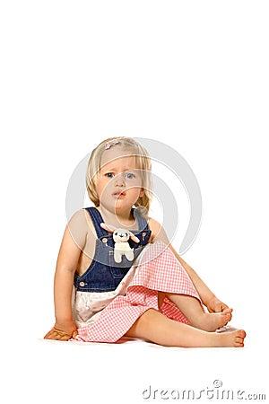 Toddler girl feeling unsure Stock Photo