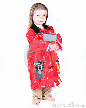 Toddler girl in firefighter costume