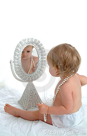 Toddler Girl in Mirror