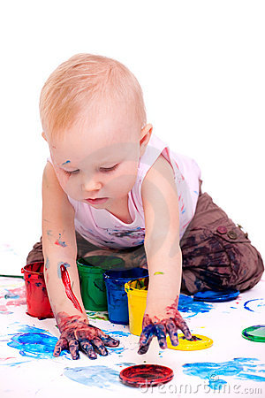 Toddler girl painting