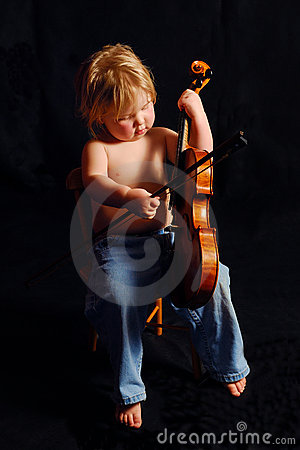 Toddler Girl Playing Violin