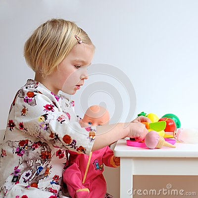 Free Toddler Girl Playing With Toys Stock Image - 51805281
