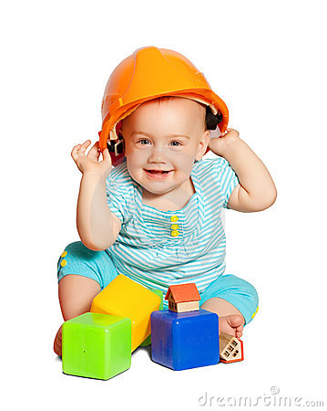 Toddler in hardhat  over white