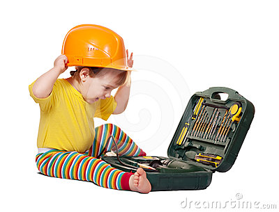 Toddler in hardhat with tool box