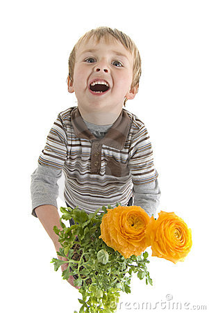 Toddler holds potted flowers
