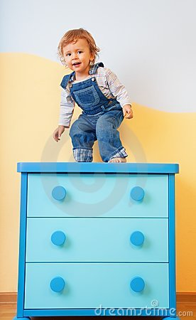 Toddler jumping from furniture