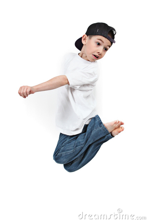 Toddler jumping midair