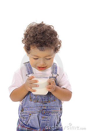Free Toddler Looking At Milk In Glass Stock Images - 14740934
