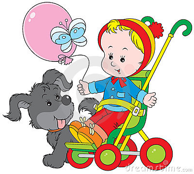 Toddler in a pram and pup