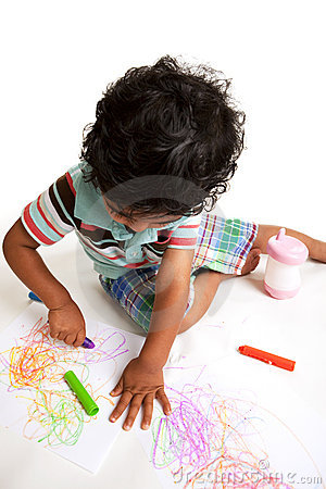 Toddler Producing Art Work With Crayons Stock Photography - Image: 9924232