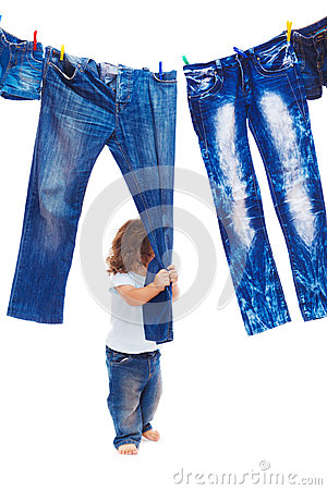 Toddler pulling denim clothes