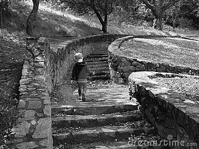 Toddler running up steps