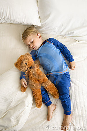 Free Toddler Sleeping With Bear. Stock Photo - 3423800