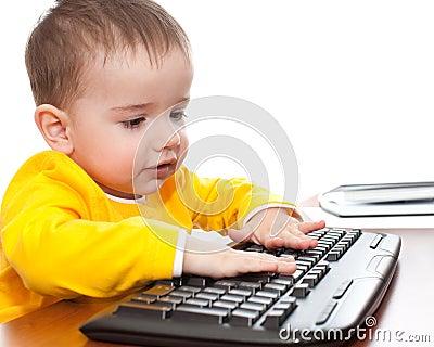 a toddler typing