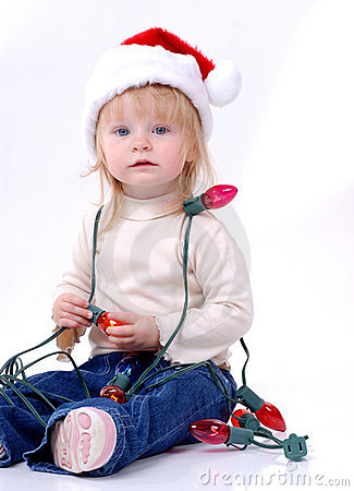 Toddler Wearing Santa Hat