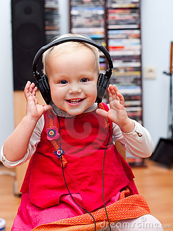 Free Toddler With Headphones Stock Images - 11038224