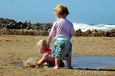 Toddlers on the beach