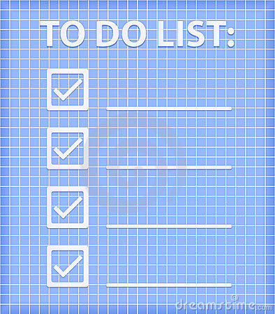 ToDo List on Blue Checked Sheet