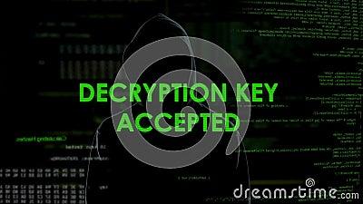 Toegelaten decryptiesleutel, hakker die wachtwoord vinden aan e-mail met geheime gegevens stock footage