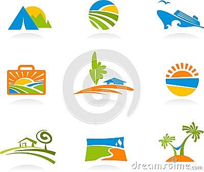 Toerisme en vakantiepictogrammen en emblemen