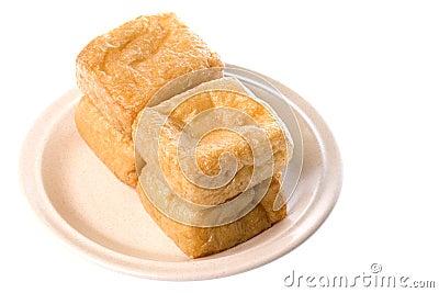Tofu on Plate Isolated