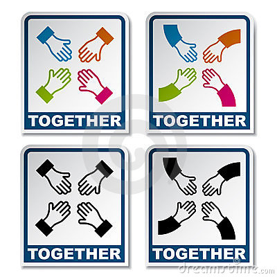 Together aiming hands sticker
