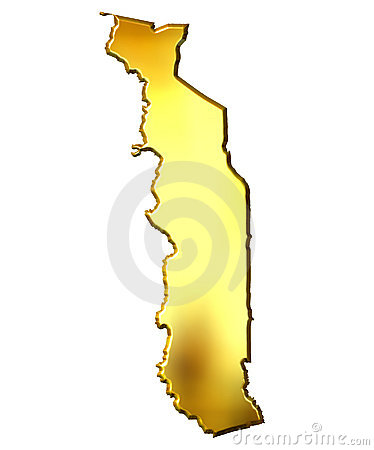 Togo 3d Golden Map
