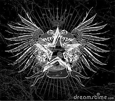 Étoile grunge et ailes