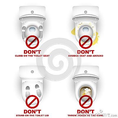 Free Toilet Bowl Closet Set Rules Warning Do Not Stock Photography - 72838102