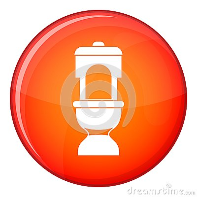 Toilet bowl icon, flat style Vector Illustration
