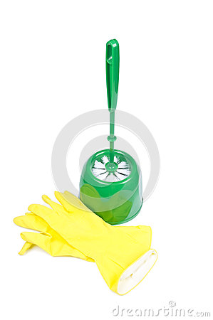 Toilet brush and rubber gloves