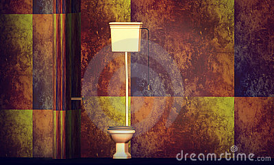 Toilet on designer wall