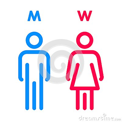 Free Toilet Indicating Sign. Vector Men And Women WC Directional Signs. Royalty Free Stock Images - 109587879