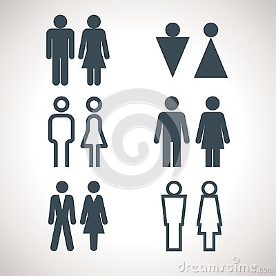Toilet indicating signs. Vector men and women WC directional sign Vector Illustration