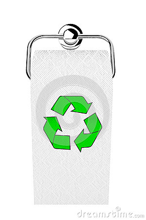 Toilet paper on chrome holder with green recycle sign