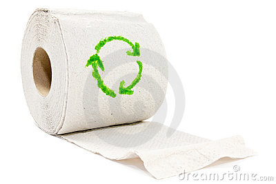Toilet paper with recycle symbol.