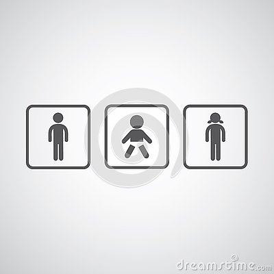 Free Toilet Sign Men Women And Baby Stock Photography - 89769442