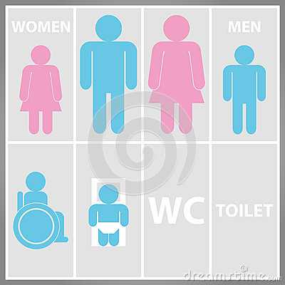 Free Toilet Sign With Toilet, Men And Women WC Stock Images - 31613984