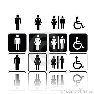 Free Toilet Signs, Man And Woman Royalty Free Stock Photography - 14368077